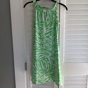 LIME GREEN ZEBRA PRINT DRESS